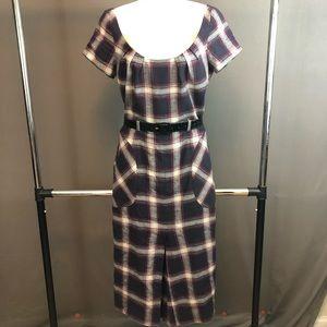 L.A.M.B plaid cap sleeve dress